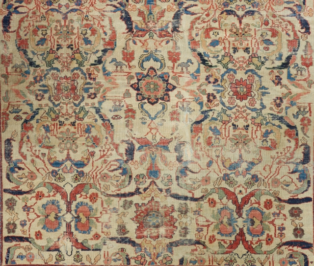 "Detail of a Gorgeous early Mahal carpet with stunning color. 12' x 8'7"". Please ask for full photo and more info."