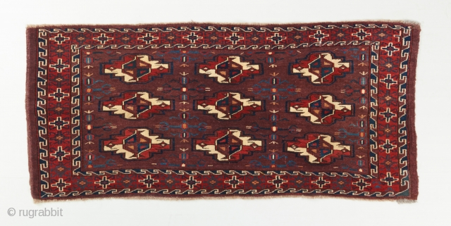 "A lovely yomut torba in very good condition. Recently acquired. Great color and rare secondary gols. Mid 19th century. 3'8"" x 1'8"".