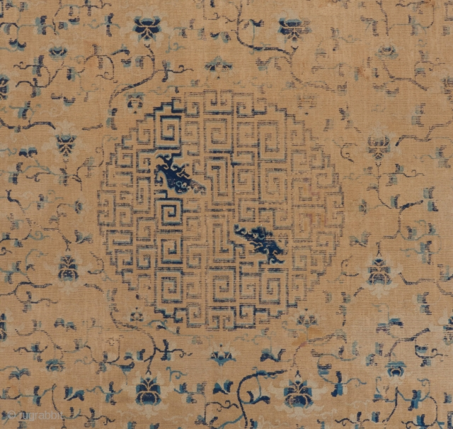 """A great Kangxi era carpet in not so great condition. 10'10"""" x 9'. Please ask for more pictures and details.   Visit our website to view more rare woven art: www.bbolour.com"""