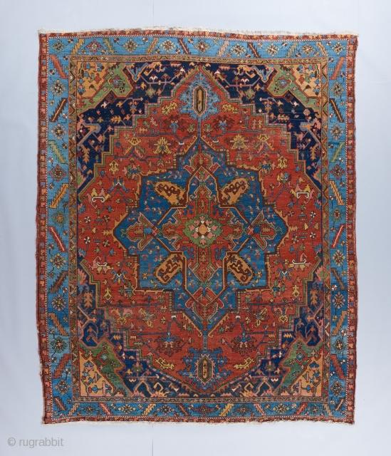 Heriz carpet with beautiful colors. 10' x 12'.  Please visit our website for more decorative carpets : https://www.bbolour.com/all-decorative-carpets/