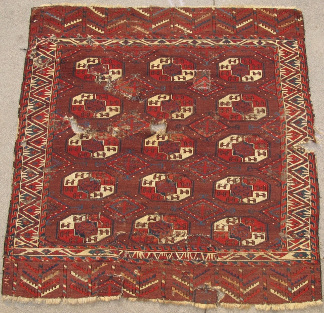 Yomud Tauk Nuska Main Carpet, saturated color, good spacing, super diamond minors with pearl ornament, salt and pepper back, cut and shut.