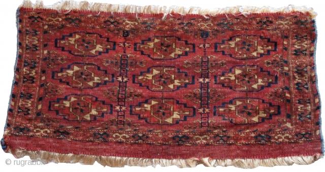 "Tekke Mafrash, fine weave nine guls with linked minors containing eight-pointed stars, 2'1""x1'1"""