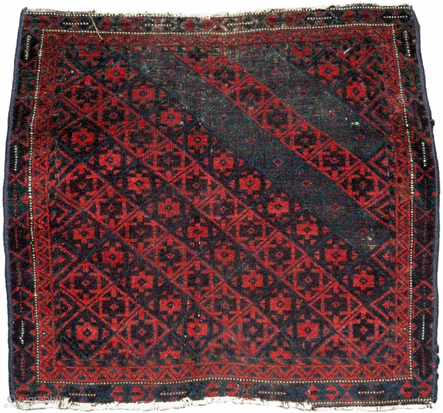 Large Sistan Baluch khorjin (bagface). Very graphic with saturated natural dyes including aubergine and several green-blue hues.