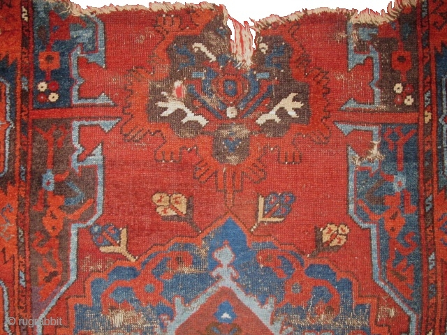 Old, Beautiful, Karapinar fragment. Unusual use of camel pile and cotton highlights. This is a great example but has some condition issues. Please contact for further details.