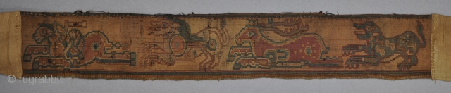 Sogdian silk samite weave belt with four leaping animals, circa 800.