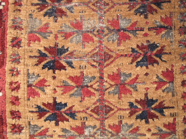 Baluch Prayer Rug with minakhani border and camel field. Lustrous wool! Khorosan, 19th century.