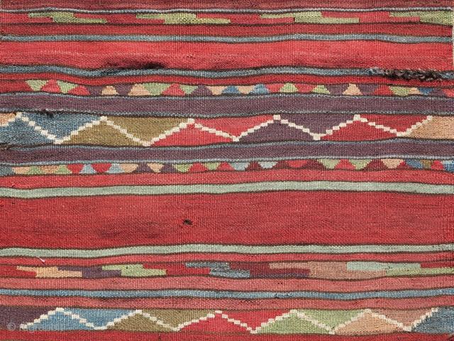 "Karapinar / Mut / South central Anatolian kilim. Great colors woven on dark warp. Good age. 30"" x 108"""