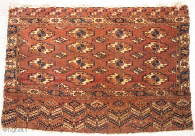 Tekke Chuval, Very nice drawing including an animal train at top, soft velvety handle. This piece once had great vibrant natural color but for some reason was bleached some time ago. Perhaps  ...