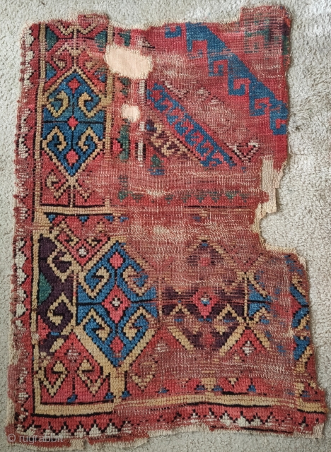 Konya rug fragment, circa 1800 or perhaps earlier? Excellent aubergine.