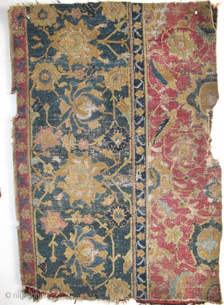 """17th Century Indo-Esfahan Fragment with several greens and lac. 2'6""""x3'7"""" / 76x109cm"""