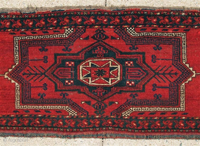 "Large 19th C. Ersari Turkmen Trapping (? Asmalyk) with a beautiful ""Salor"" red, or maybe the red seen in some of the best early Tekke carpets. Size is 20"" x 67"" (51cm  ..."