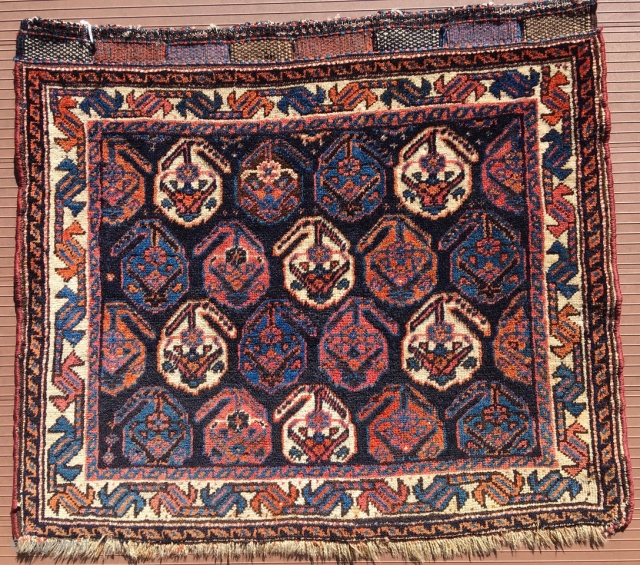 Afshar bag face.  Excellent condition.  Closure panels complete across top, with finely detailed patterning in weft substitution.  30 inches by 26 inches (76 cm by 66 cm).    ...