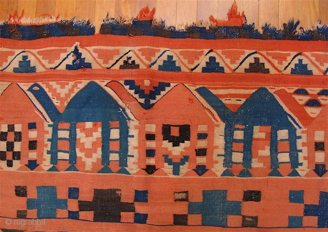 Old Gafsa Tunisian kilim. Nearly square—86 inches long and 87 inches wide (219 x 221 cm).  Some fraying and notches at the ends, and some small holes, due mainly to the  ...