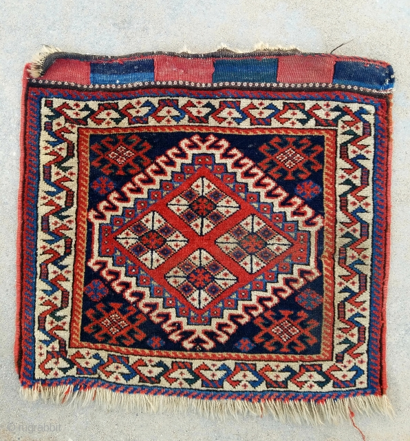 "SW Persian bagface- about 19"" x 21"".  Nice wool, meaty pile with couple scattered moth nibbles."