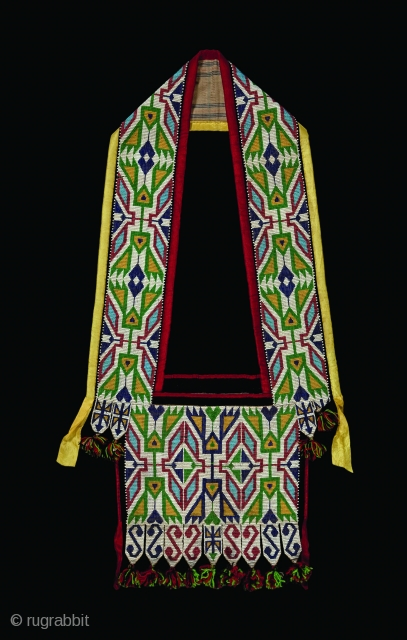 """Winnebago Bandolier Bag, Loom woven bead technique, Circa 1890s, dimensions: H: 32"""" x W: 17"""", (81.3 x 43.2cm)  Brant Mackley Gallery is always seeking American Indian and other tribal items.  Also wanted:  ..."""