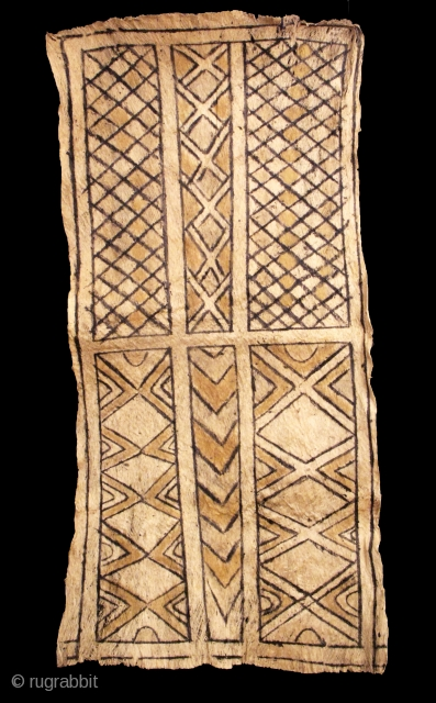 """Geometric Ticuna Barkcloth, Amazon, Circa 1920-1930s, dimensions: H: 46"""" x W: 23.75""""  Brant Mackley Gallery is always seeking American Indian and other tribal items.  Also wanted: backcloth from Indonesia.  www.brantmackley.com  717-554-2176,  Two Gallery  ..."""