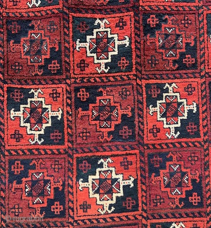 """A great Yaqoub Khani Baluch rug in excellent full pile and complete skirts at each end. 2.44 x 1.17m (8' 0"""" x 3' 10"""")."""