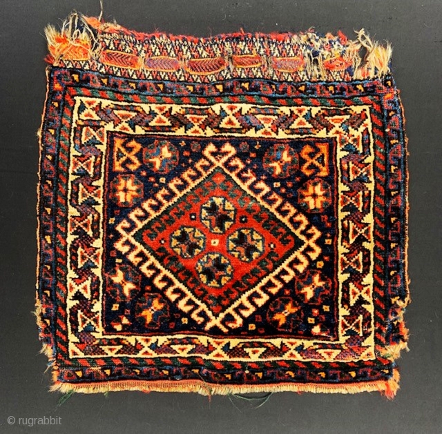 """Attractive Qashqa'i or Luri bag-face, damaged on the sides but otherwise in full pile - 50cm x 56cm (1' 8"""" x 1' 10"""")."""