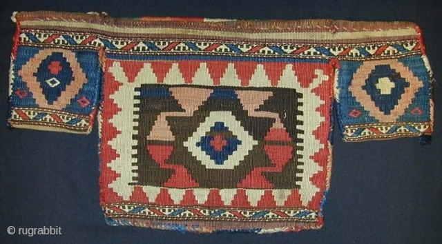 SHAHSAVAN Three-bag Tent Trapping. Circa 1900. Sumak & Slitweave. Very decorative. Excellent condition.76 x 38 cms