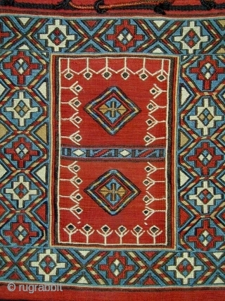 Shahsavan Sumak Khorjin (double bag). South Caucasus.Late 19th c. Unusual central Panel. All natural colors. Complete. 107 x 35 cms.