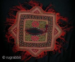 Tekke Turkmen Silk Embroidered Child's Bib. Late 19th c.