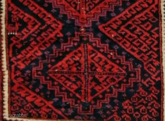 Antique Persian Baluch with good saturated colours and uncommon design for it's provenance. Good condition.103 x 166 cm.