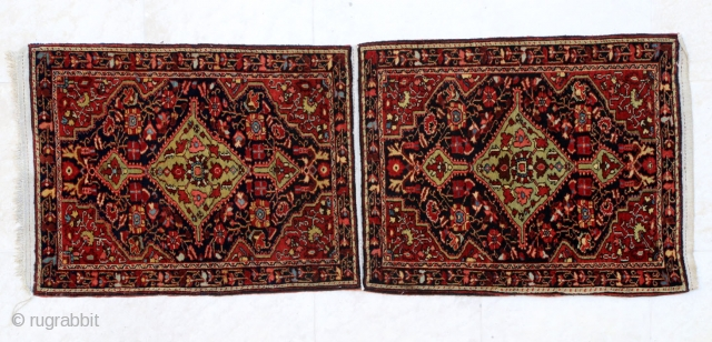 """Pair of Jozan pushtis (mats), ca. 1930. 60 x 153 cm (2' x 5'1""""). All natural colours, still attached on the same warps as woven. Excellent condition."""
