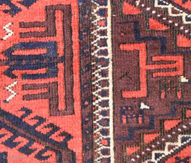 """Antique plum ground Baluch, 87 x 162 cm (1'11"""" x 5'5"""") incl.end kilims. 2 quite small good repairs, browns corrosion, good condition otherwise."""