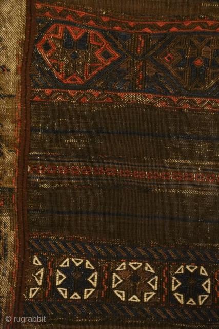 Antique sounak/brocade/kilim long flatweave + a fragment of the same type. Good for study.