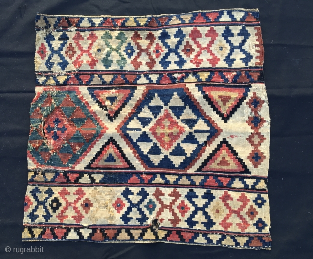 Great kilim fragment from mid 19th century. Cm 69x69 ca. Very, very fine weave and with fantastic colors. Should be either Shirwan or Kazak. It could be a kilim fragment or as  ...