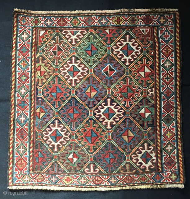 Outstanding, Beautiful, classic Shahsavan sumack bag face. Cm 60x60 ca. End 19th c. All good colors. In very good cond.