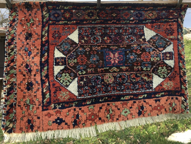 Eastern Anatolia Diwan carpet fragment. Most probably Kagizman. Perfect size for a fragment: cm 86x114 or ft 2.8x3.7 . Second half 19th century. Best natural dyes. The apricot is simply incredible. Almost  ...