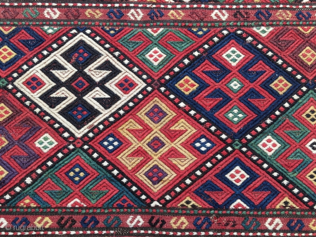 Shahsavan Suimack mafrash long panel detail. Cm 46x103. Late 19th c or earlier. Great natural colors. In good condition. Ask for more pics & infos.