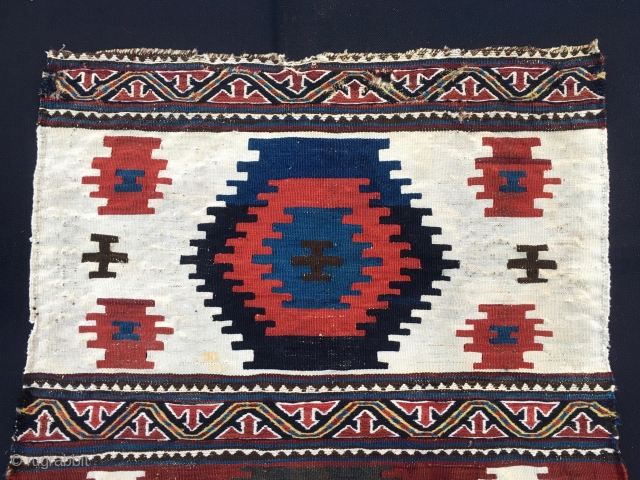 Shahsavan Moghan beautiful, charming, decorative kilim/sumack mafrash end panel. Cm 50x60 ca. End 19/early 20th c. Two wide stripes divided by narrow bands of extra weft wrapping. A masterpiece pattern as Parviz  ...