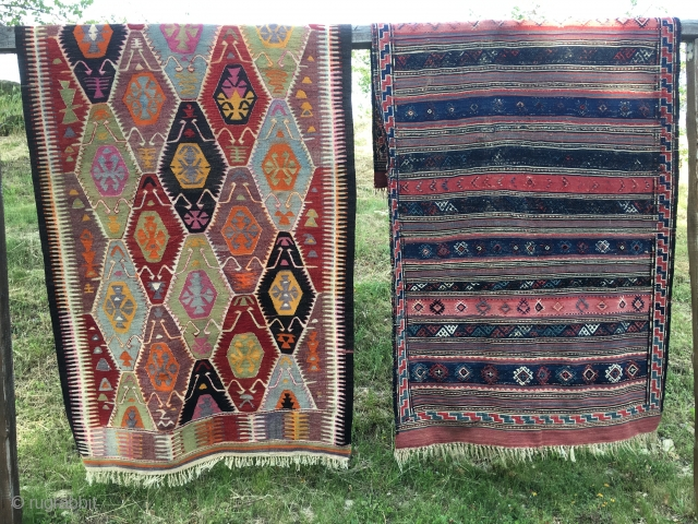 Two kilims at cost price. The first one is from somewhere in Central Anatolia. Size is cm 160x305. Vintage, decorative piece. It has some minor condition issues. There is an inscription on  ...