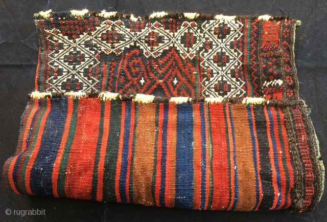 Baluchi colorful sumack bag. Cm 40x46. Late 19h/early 20h c. Wool, cotton, goat hair. Very tight weave. Deep natural dyes. Lovely graphic. In great condition.