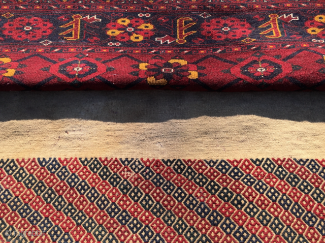Turkmen Beshir mina khani pile cuval detail. Cm 100x180 ca. Late 19th/early 20th c. Complete, full pile, huge size, very tight weave, very heavy, great colors, see the super yellow!, good condition  ...