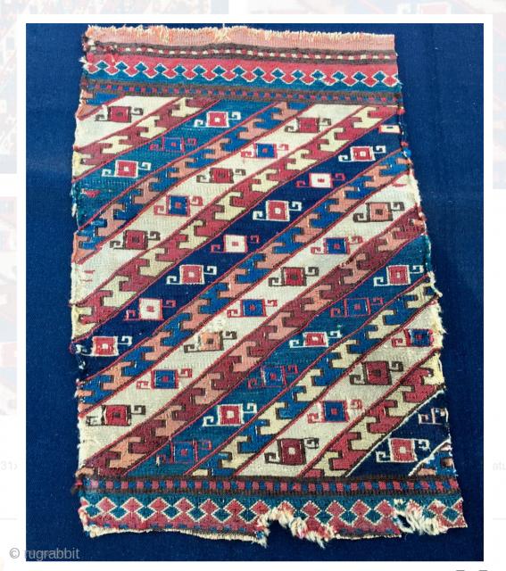 Khyzy village, north of Baku or Shahsavan sumack mafrash panel. Cm 31x47. 3rd/4th q 19th c. Small, rare, beautiful, intriguing sumack mafrash panel. Deep, great saturated colors. a small jewel. 4 more  ...