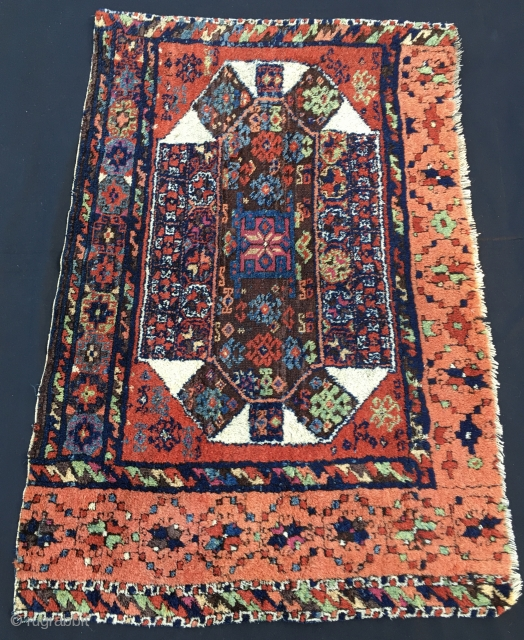 Eastern Anatolia, Antep diwan rug fragment. Cm 70/80x110. Second half 19th century. Fantastic natural deep saturated colors. High, shiny pile. Diwan rugs were used on the wall as back of the sitting  ...