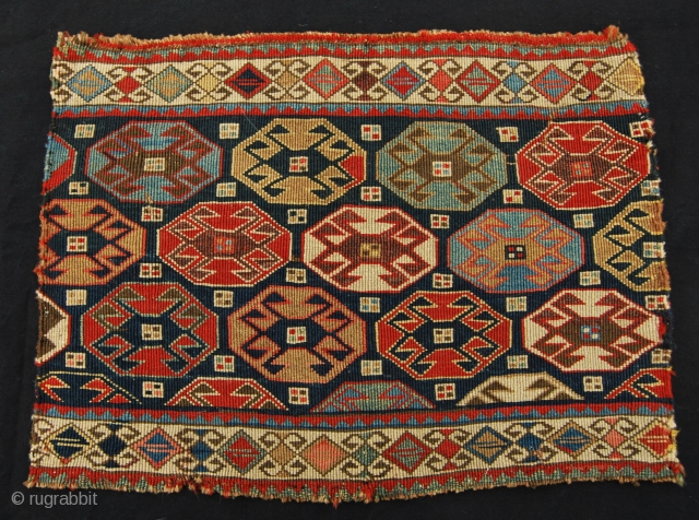"Beautiful, colorful Shahsavan reverse sumack mafrash end panel. Cm 41x55 ca. Datable 1870/1890. In very good condition. Gorgeous dyes, but….(not really sure?!)... a small fuchsine spot.... I'm nor a ""color integralist""…..I think  ..."