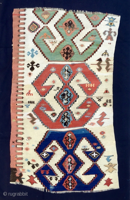 """Anatoliam kilim fragment. Three powerful ram horn medallions. Size is cm70x120 ca. Beautiful and rich with lovely symbols. Background playing between white and beige. It would be a nice """"modern painting"""" to  ..."""