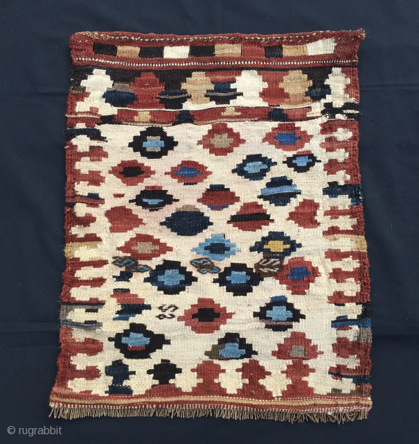 Shahsavan kilim khorjin bag face. Cm 48x61. Early 20th c or late 19th c. Sweet, colorful, full of diamonds. Some colors should be natural. In good condition.