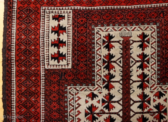 """Baluch white ground Prayer rug; beginning 20th c.; 98 x 166 cm (3`3"""" x 5`5""""); one says that Baluch prayer rugs with white ground are rare, this one has also in its  ..."""