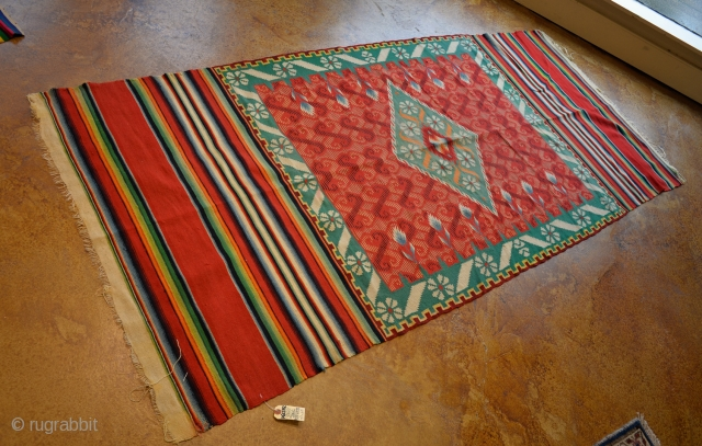 "Unusual, antique Saltillo Serape. 3-7""  x 8-3"". Circa 1875- 1900