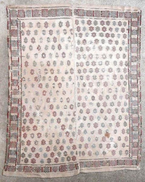Old Caucasian kilim (Verneh) embroidered around 1880. Very worn with stains and lacks.