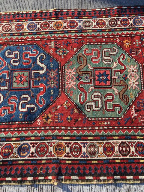 Kazak rug came out of an estate complete end to end side to side original great condition size is 51 inches by 97 inches  listing a few pieces please see others  more photos on request