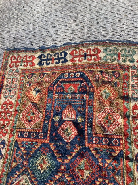 Caucasian Prayer rug (akstafa ?) Excellent condition  Size is 38 inches by 76 inches More photos on request  older reweave on one end