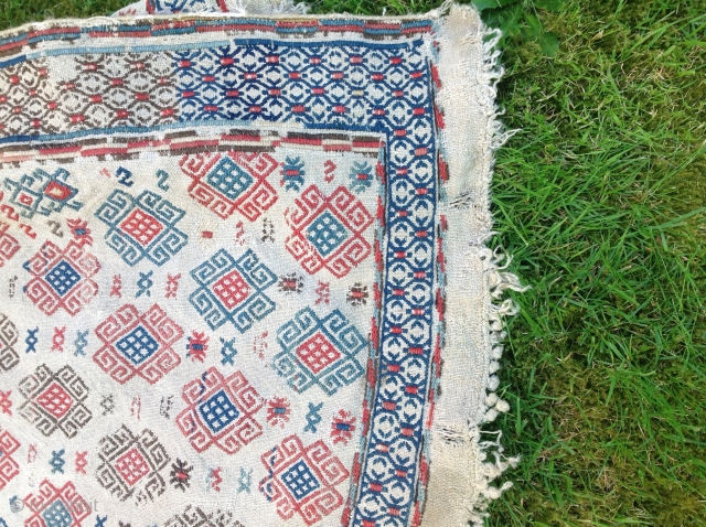 Very old verneh as is  Size is 63 inches by 75 inches  Two panels sewn together  Please inquire for more photos