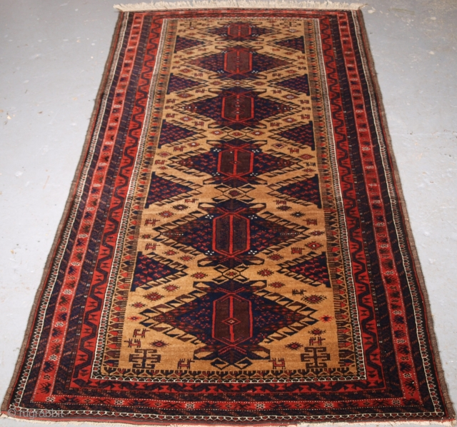 Size: 6ft 3in x 3ft 5in (190 x 103cm). www.knightsantiques.co.uk   Antique Timuri Baluch rug from Western Afghanistan with scarce design.  Circa 1900  This is an outstanding example of type, woven on fine cotton warps  ...