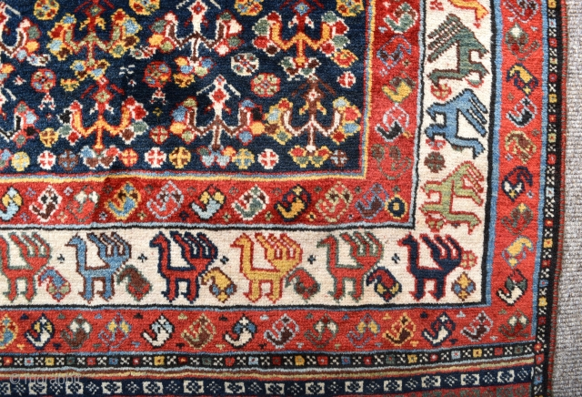 A good antique Qasgai rug with beautiful wool, good dyes and an exceptionally rare border. Excellent condition, fat greasy pile all-over, one or two small repairs, fringes added. Super clean and moth  ...